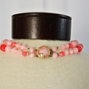 Vintage 60s Pretty In Pink 2 Strand  Necklace